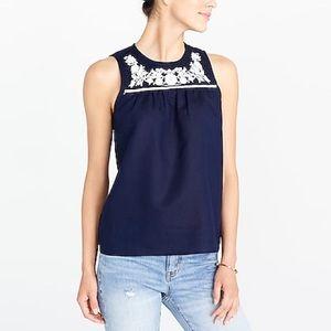 J Crew sleeveless embroidered cotton linen shell